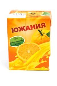 """Сок """"Южания"""" апельсин, ГОСТ, 200 миллилитров, тетрапак, Россия"""