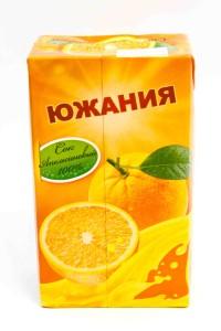 "Сок ""Южания"" апельсин, ГОСТ, 1 литр, тетрапак, Россия"