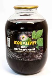 """Сок ежевичный. """"Южания"""". Стекло. Банка 3 литра."""